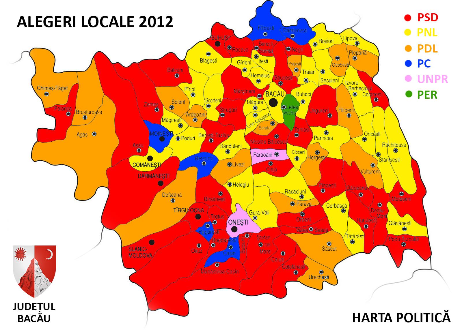 Harta Politică A Județului Bacău Kristofer Ro
