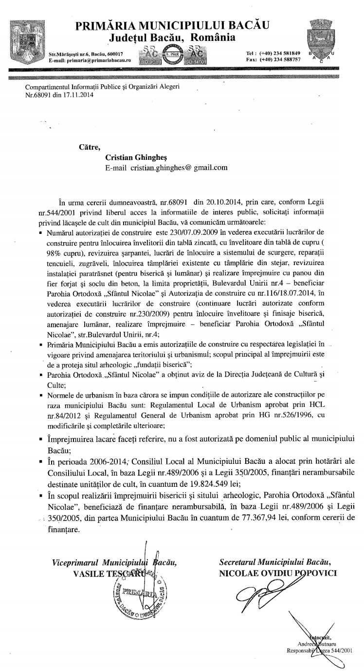 raspuns 68091 17.11.2014 primaria bacau investitii biserica