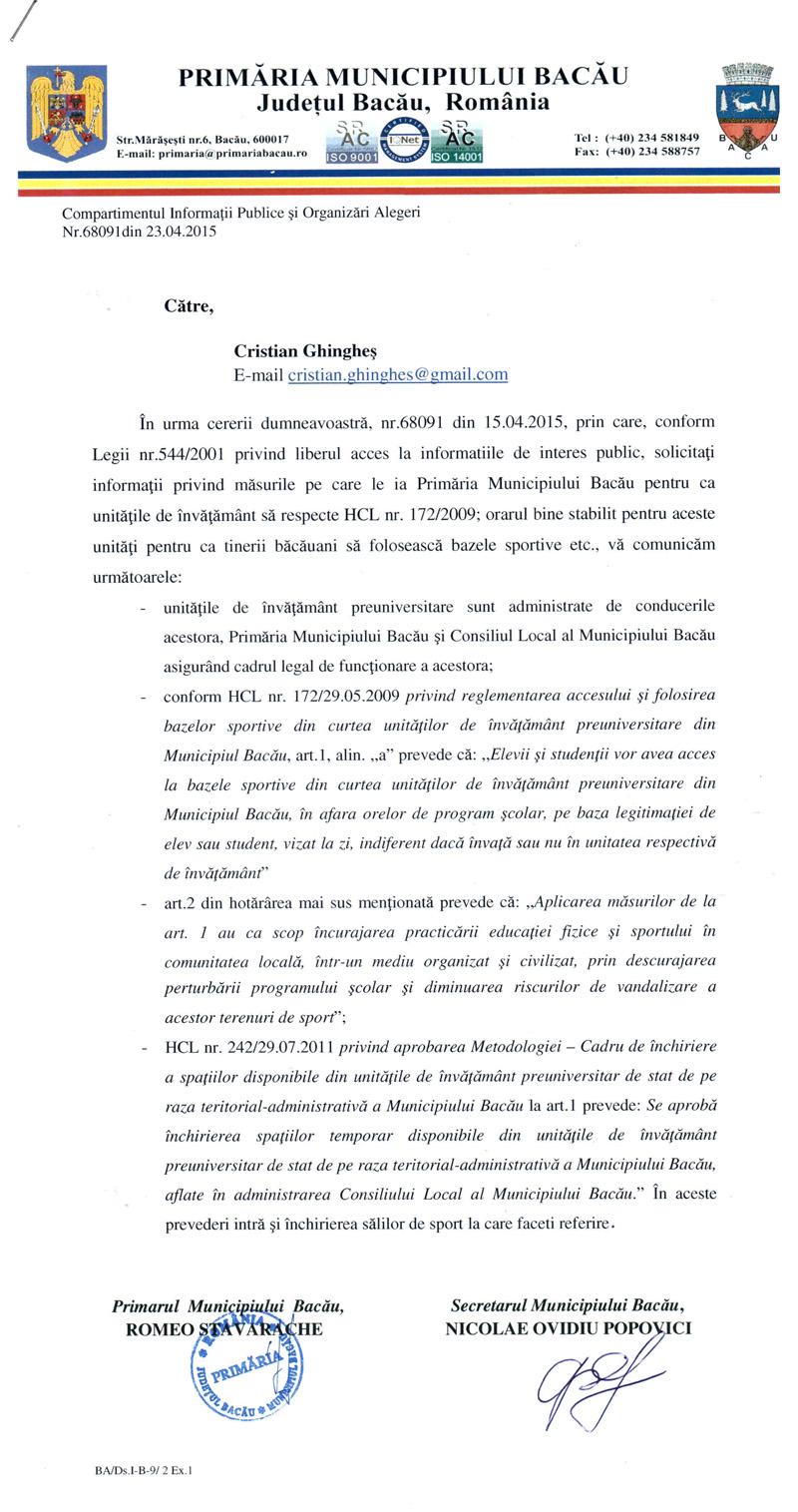raspuns primaria bacau aplicare hcl acces terenuri sport licee scoli