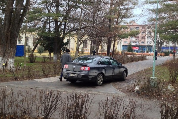 stavarache parcheaza in parc