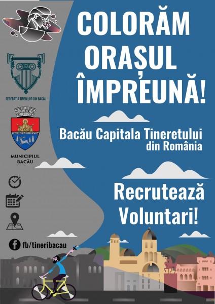 afis campanie voluntari bacau capitala tineretului