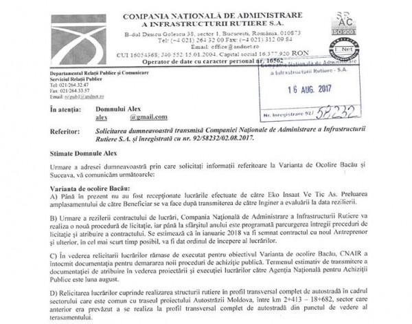 raspuns cnair reluare licitatie centura bacau august 2017