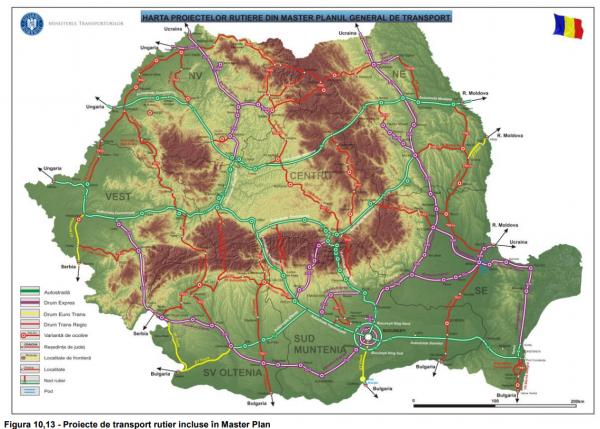 harta proiecte rutiere master plan general transport mpgt