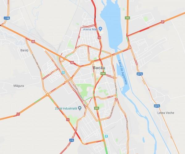 bacau trafic rosu google maps