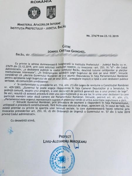 raspuns prefect bacau dezbatere buget guvern orban asumare raspundere