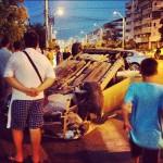 Accident grav pe strada Stefan cel Mare. Masina rasturnata.